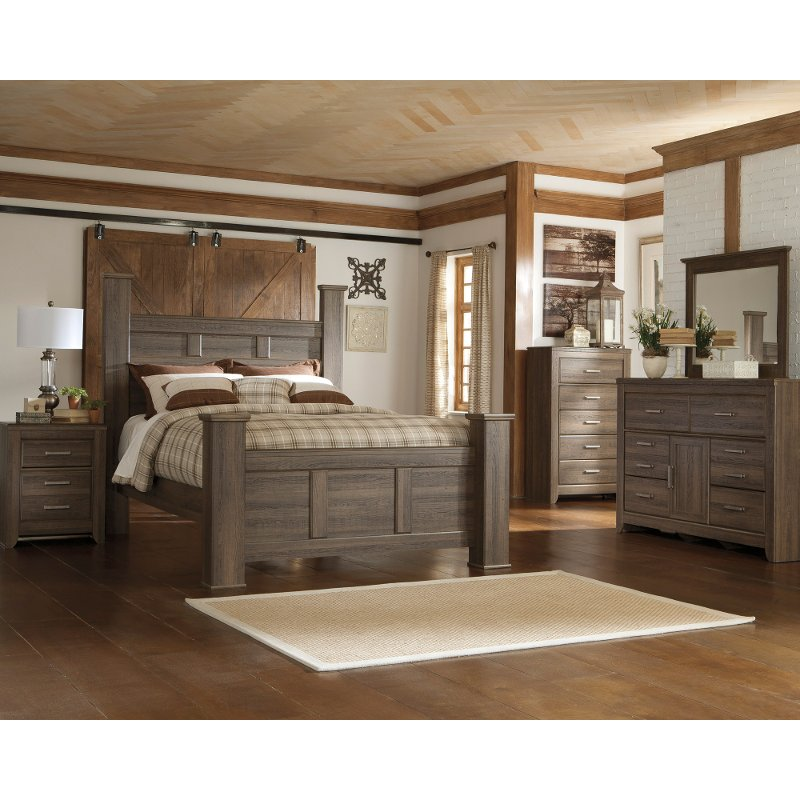 Captivating Driftwood Rustic Modern 6 Piece King Bedroom Set   Fairfax