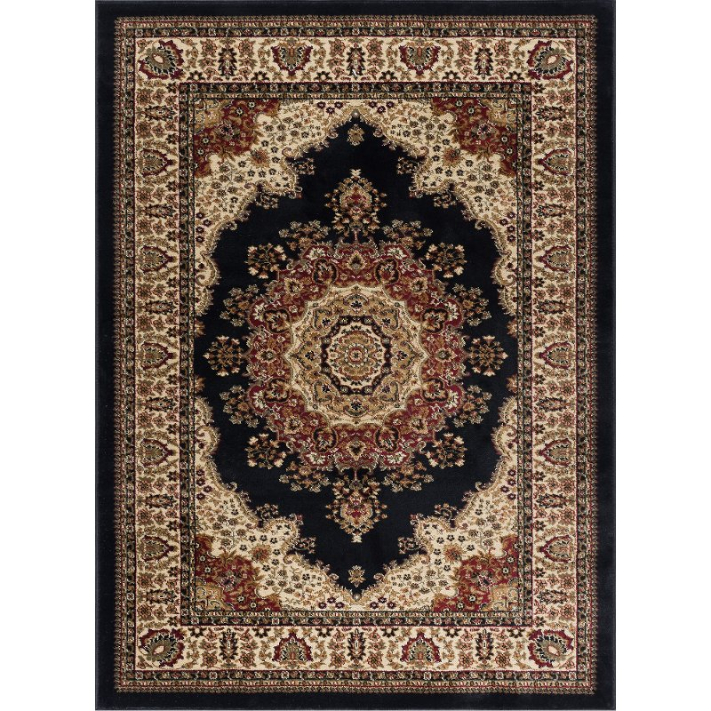 8 X 10 Large Black Red And Beige Area Rug Sensation Rc Willey