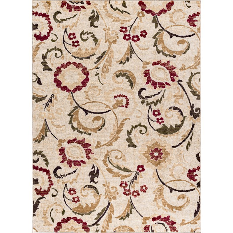 Large Area Rugs Gold: 8 X 10 Large Ivory, Red, And Gold Area Rug - Laguna