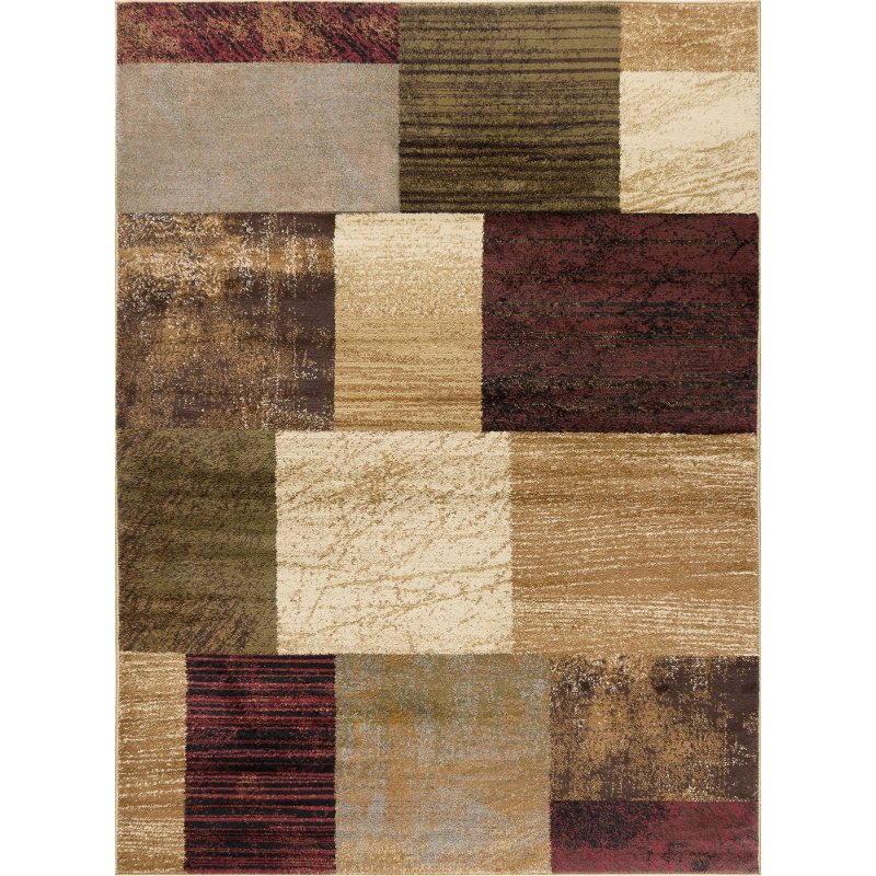 5 X 7 Medium Brown Red And Green Area Rug Elegance Rc Willey