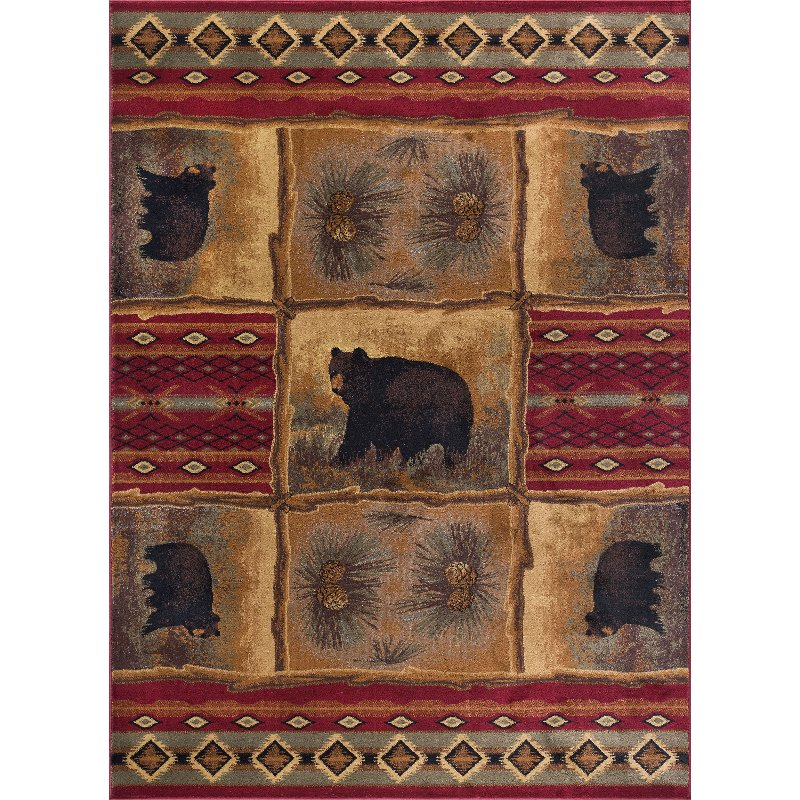 8 X 10 Large Brown Red And Green Area Rug Nature Rc