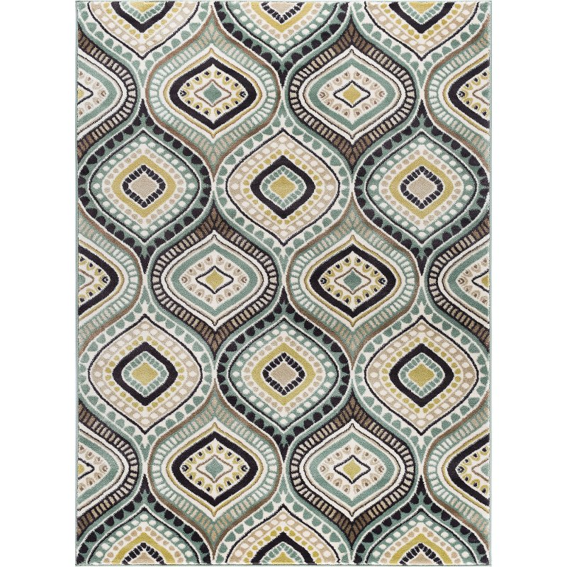 8 X 10 Large Aqua Blue, Brown, And Gold Area Rug