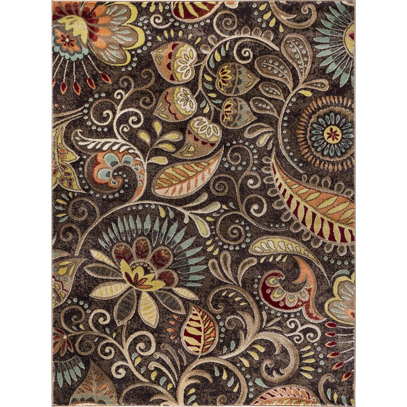 8 x 10 Large Floral Mocha Brown, Red, and Gold Area Rug   Capri