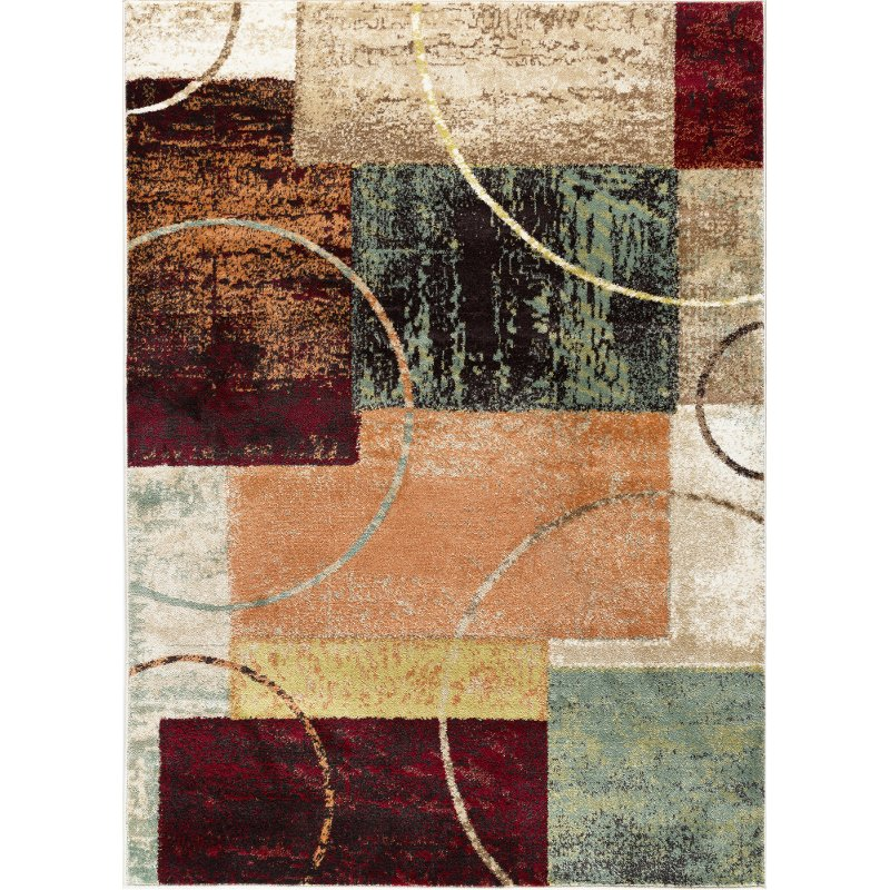 5 X 7 Medium Red Brown And Teal Area Rug Deco Rc Willey Furniture Store