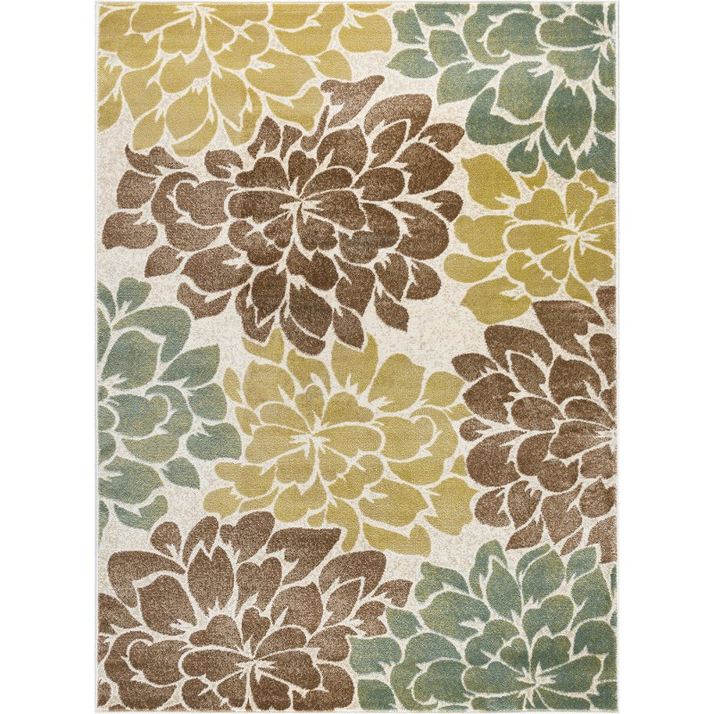 Teal Blue, Ivory & Green 8' X 10' Deco Area Rug