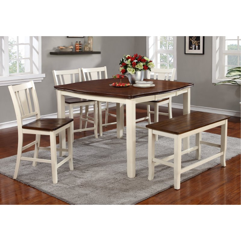 Dining Room Sets For 6: White And Cherry 6 Piece Counter Height Dining Set With
