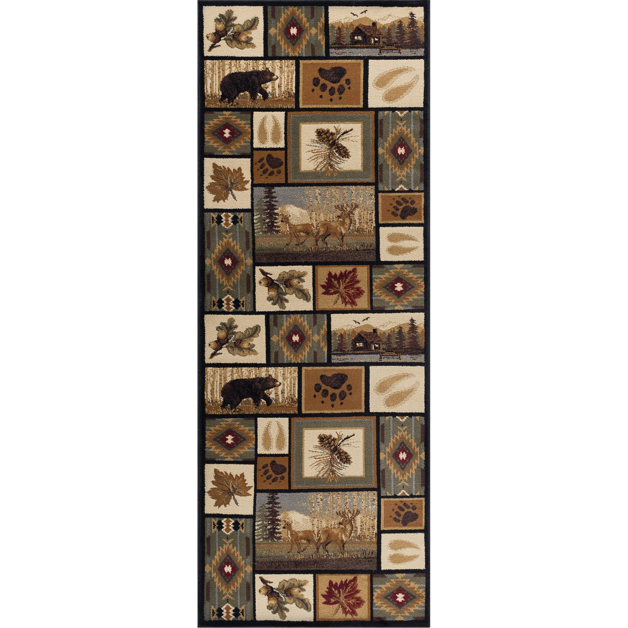 Green Brown And Beige 7 Foot Runner Rug Nature Rc