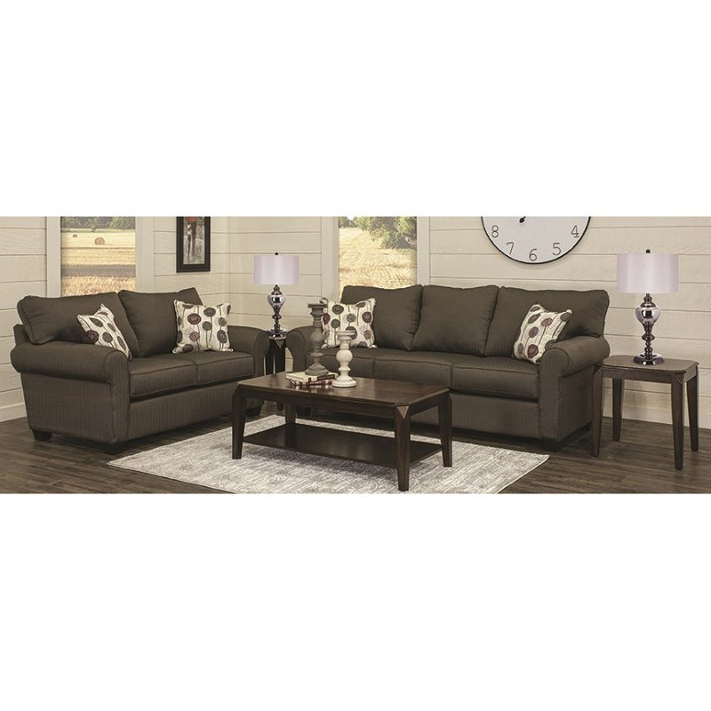 Contemporary Slate 7 Piece Living Room Set With Sofa Bed   Seaside