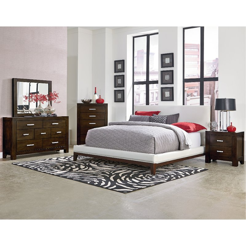 couture 6 piece white chocolate brown queen bedroom set