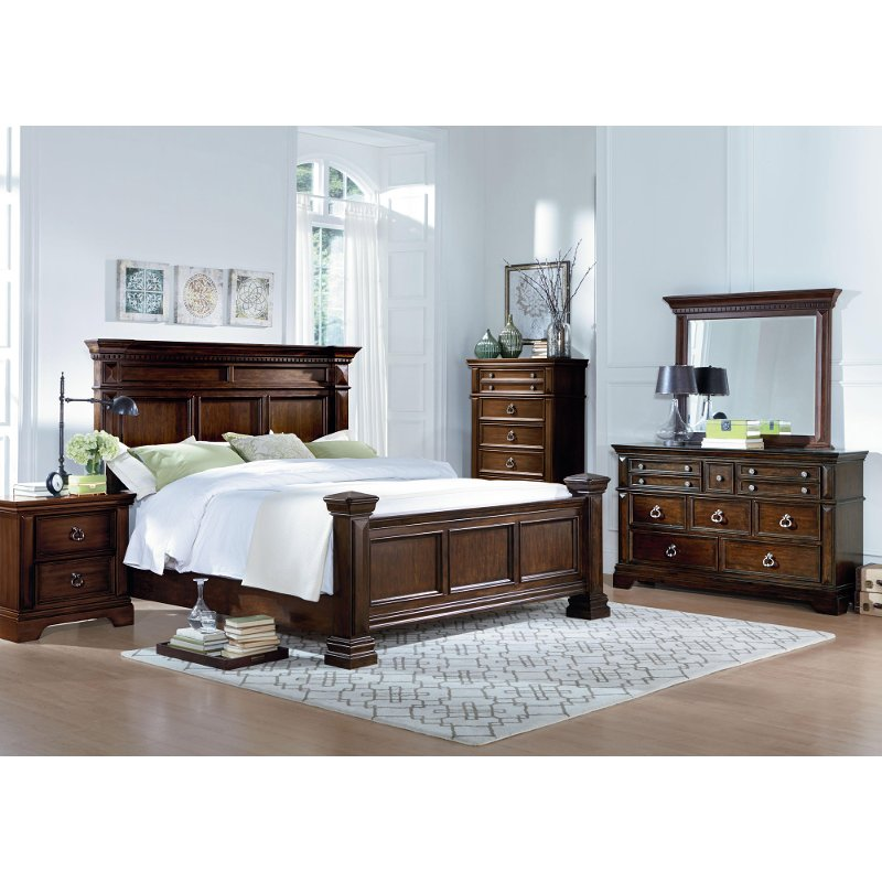 charleston tobacco brown 6 piece cal king bedroom set