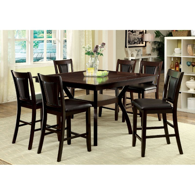 Dark Cherry 5 Piece Counter Height Dining Set Brent Rc Willey Furniture Store