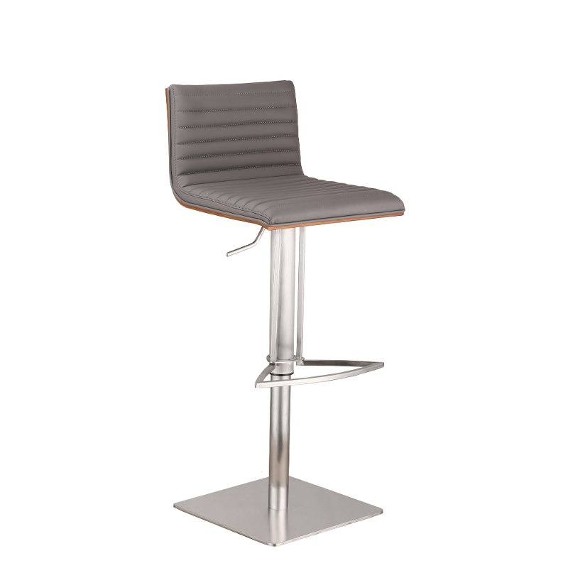 Cafe Stainless Steel Amp Gray Adjustable Bar Stool