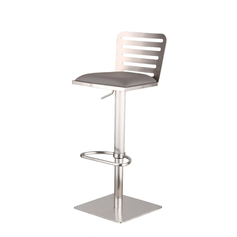 Stainless Steel U0026 Gray Adjustable Bar Stool   Delmar | RC Willey Furniture  Store