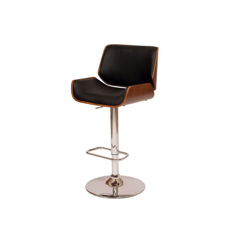 London Black Amp Chrome Swivel Adjustable Bar Stool