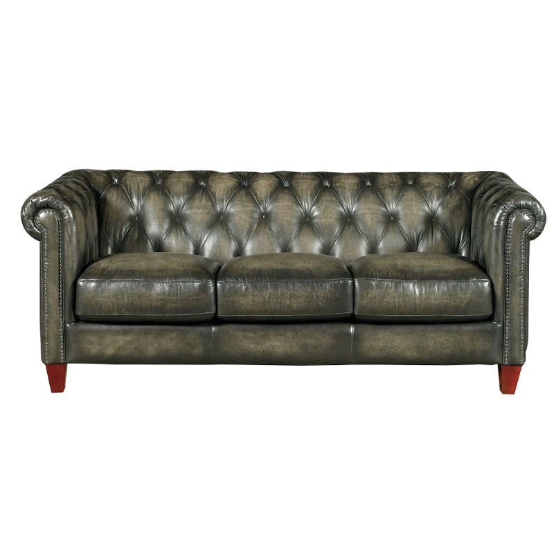 Fusion charcoal leather match traditional sofa for Traditional leather sofas furniture