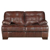Contemporary Walnut Brown Leather Match Loveseat Amarillo Rc Willey Furniture Store
