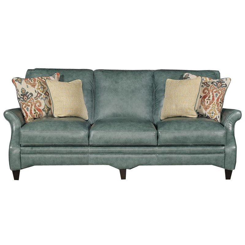 Silver lake green leather traditional sofa for Traditional sectional