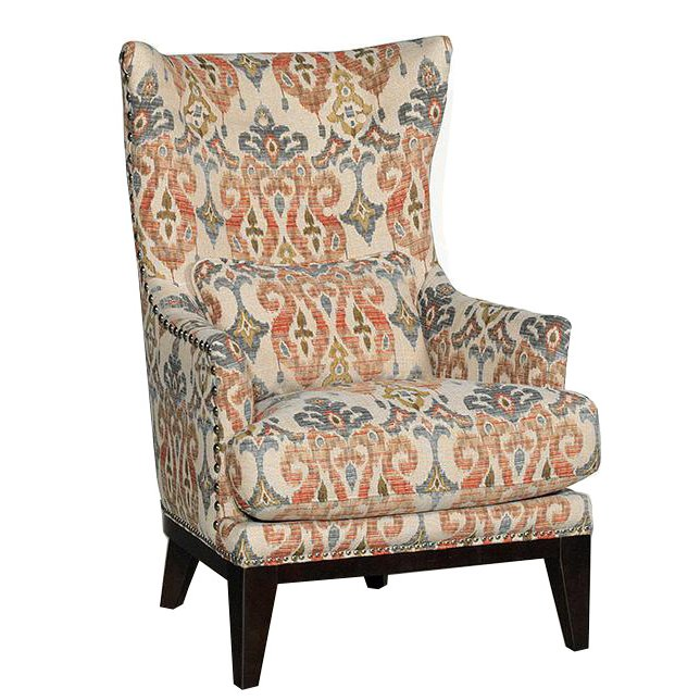 Silver Lake Sand Patterned Upholstered Traditional Wingback Chair
