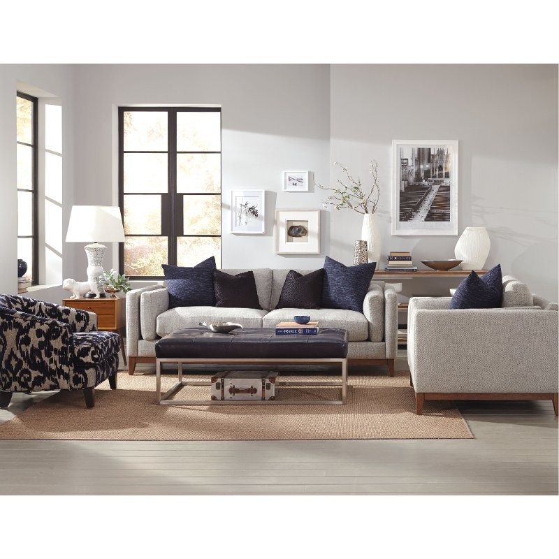 Kelsey stone upholstered mid century modern sofa for Mid century modern upholstered chair