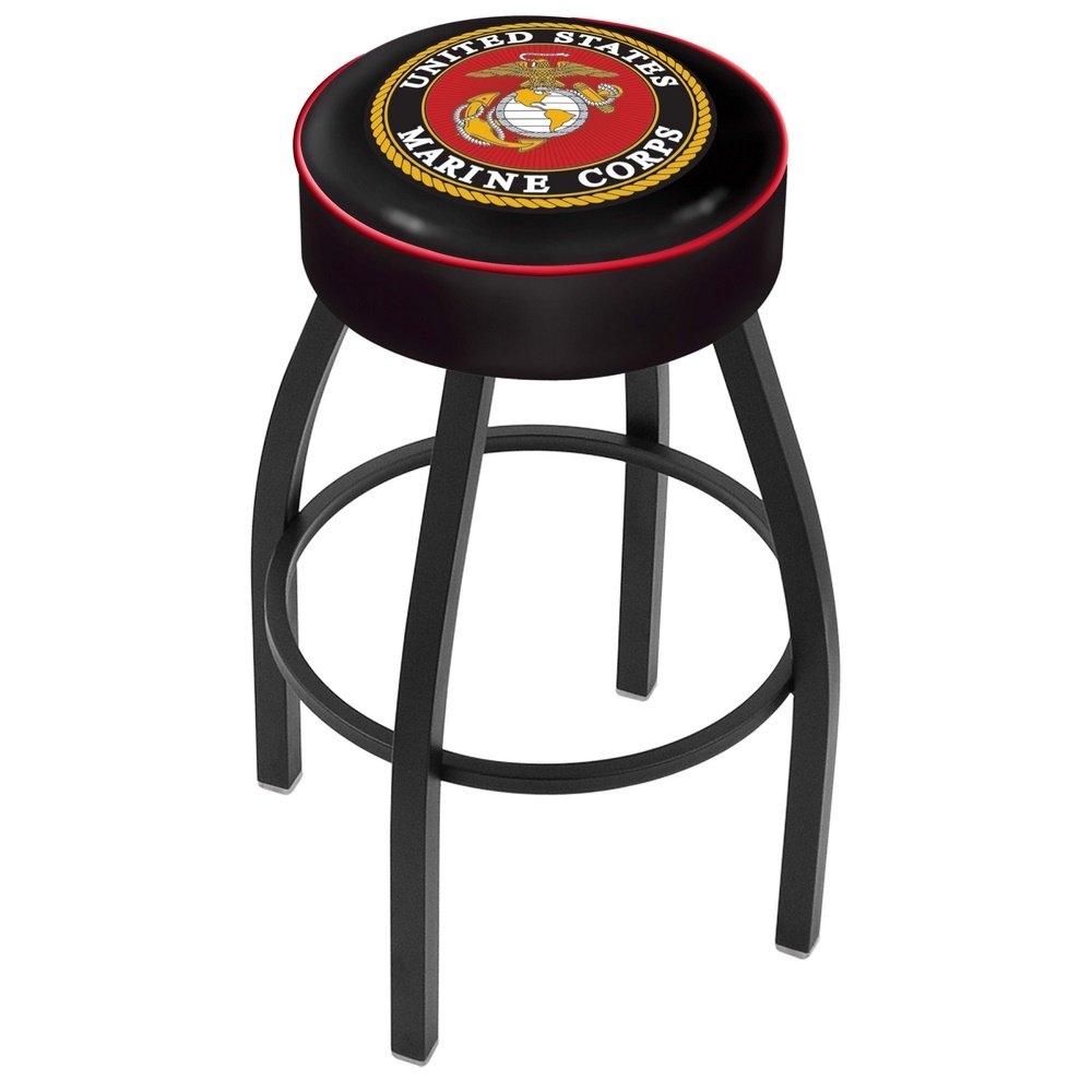 Black 25 Inch Cushion Counter Stool Us Marines Rc Willey