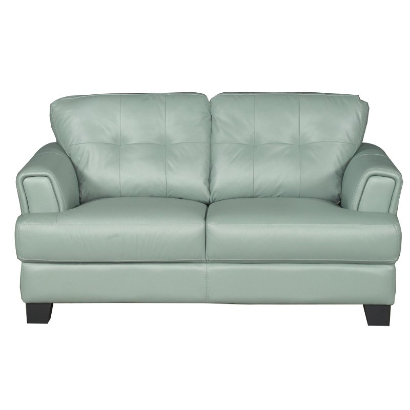 District Seafoam Green Leather Contemporary Loveseat
