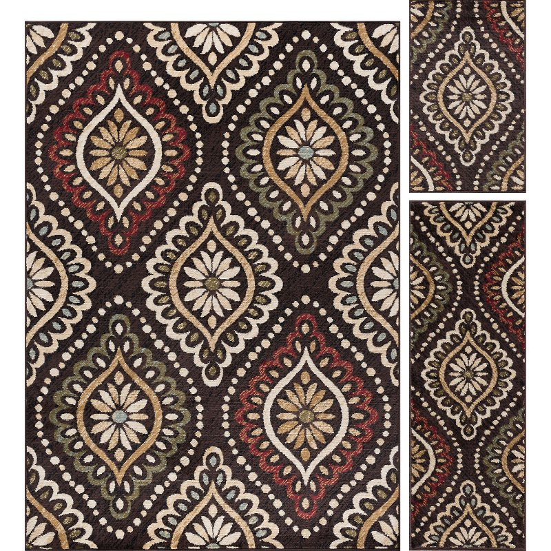 3 Piece Set Brown Red And Green Area Rug Laguna Rc Willey