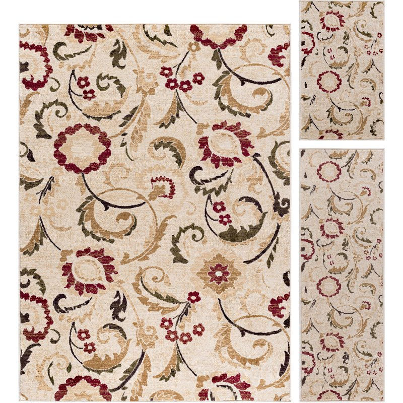 3 Piece Set Ivory Red And Gold Area Rug Laguna Rc Willey