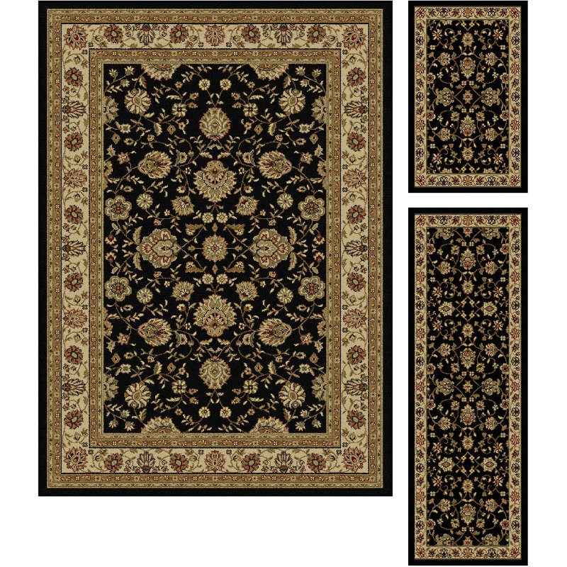 3 Piece Set Black Area Rug Elegance Rc Willey Furniture Store