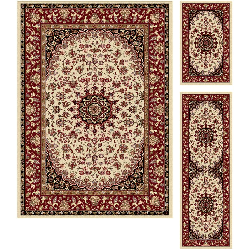 3 Piece Set Ivory Red And Gold Area Rug Elegance Rc Willey