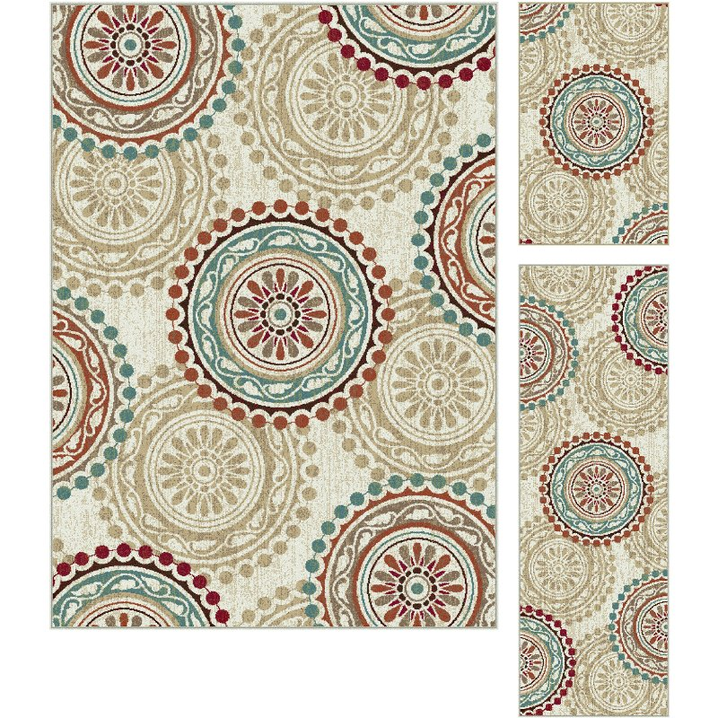 3 Piece Set Ivory, Teal Blue, And Red Area Rug - Deco