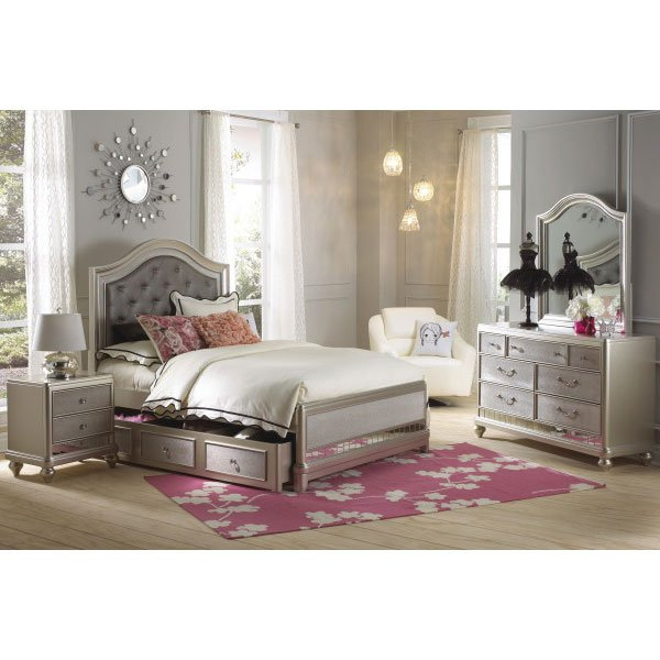 Champagne Gold 4 Piece Twin Bedroom Set with Trundle - Li\'l Diva