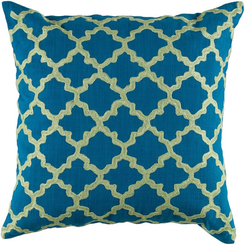 Peacock Blue and Lime Green Throw Pillow  75d5cca1c6ee
