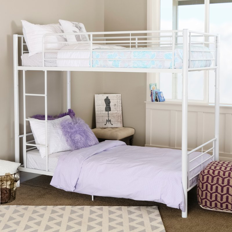 White Metal Twin Over Twin Bunk Bed Rc Willey Furniture Store