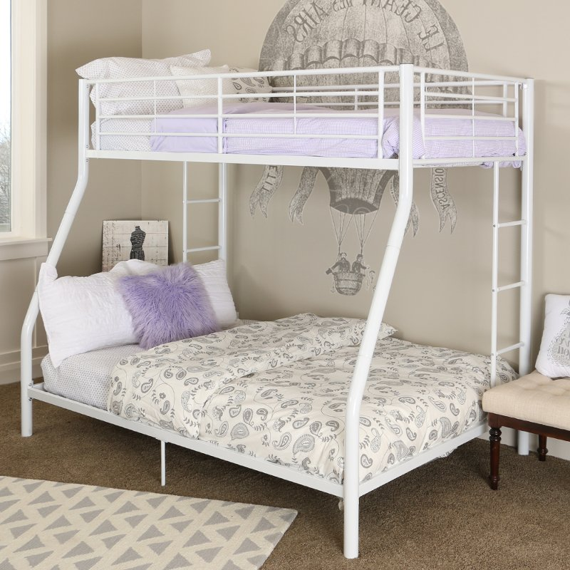 White Metal Twin Over Full Bunk Bed Rc Willey Furniture