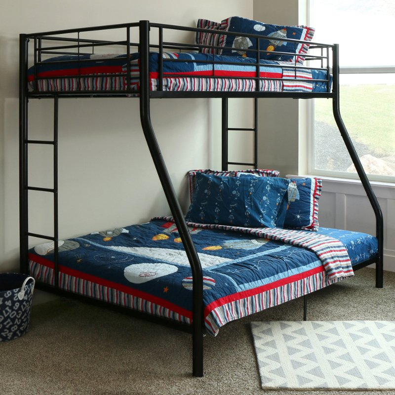 Black Metal Twin Over Full Bunk Bed Rc Willey Furniture Store