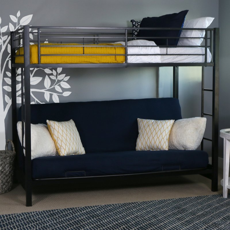 Black twin over futon metal bunk bed for Metal bunk beds with futon