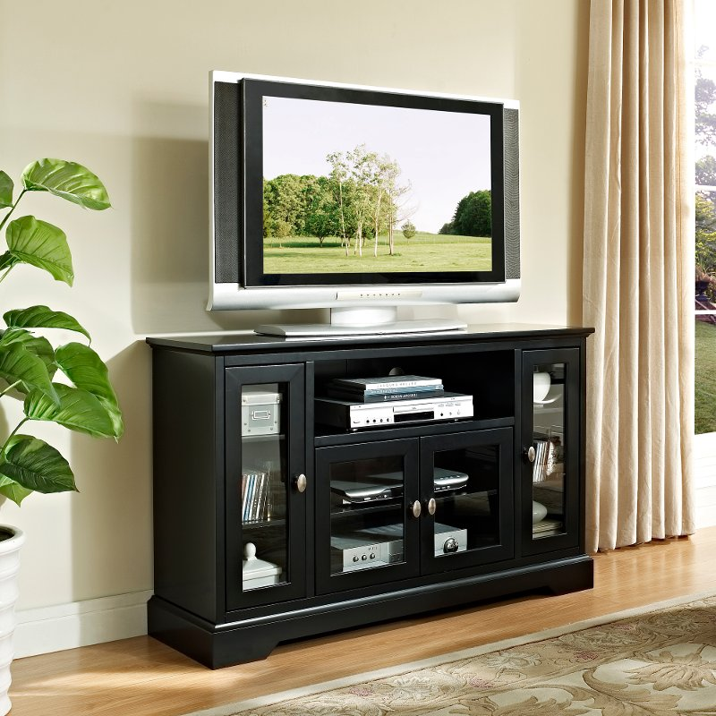 Black wood highboy tv stand