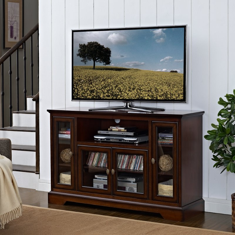 Rustic Brown Wood Highboy TV Stand