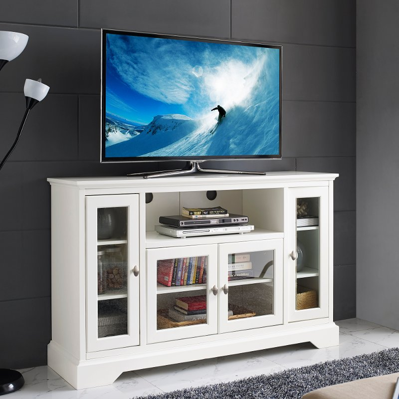 White Wood Highboy TV Stand