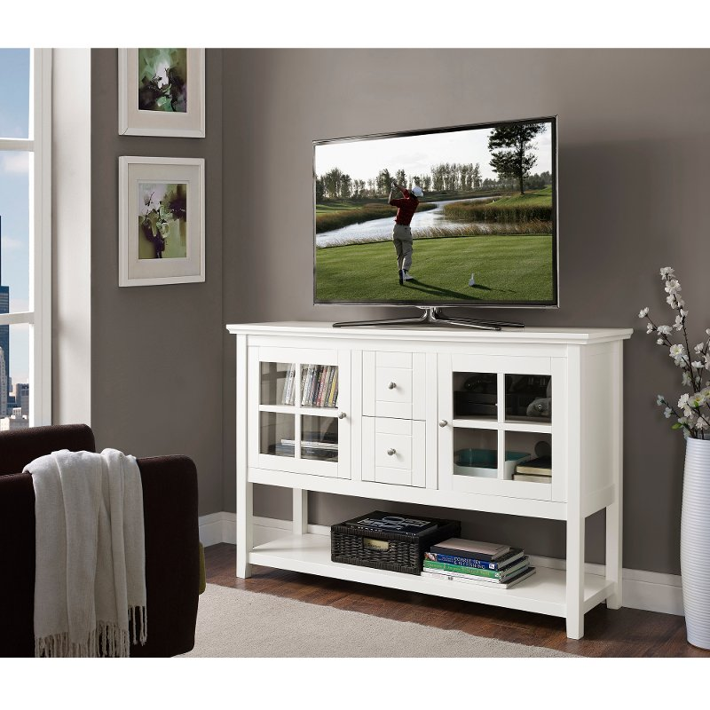 White Wood Tv Stand 52 Inch Rc Willey Furniture Store