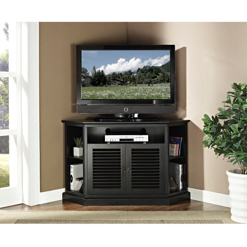 Black Corner Tv Stand 52 Inch Rc Willey Furniture Store