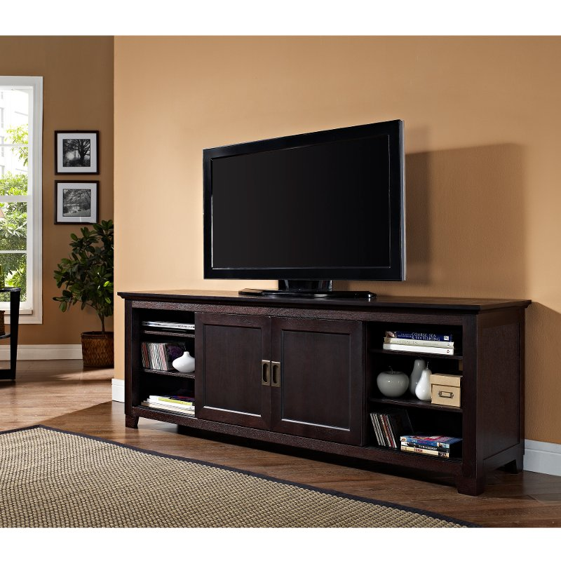 Espresso Tv Stand With Sliding Door 70 Inch Rc Willey Furniture