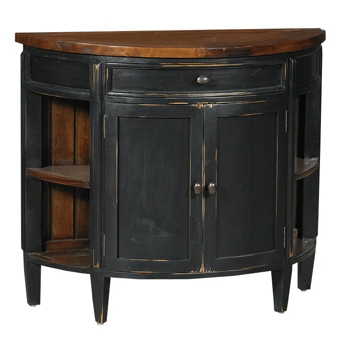 Rc Willey Truck: Black Demilune Cocktail Console Cabinet - Aries