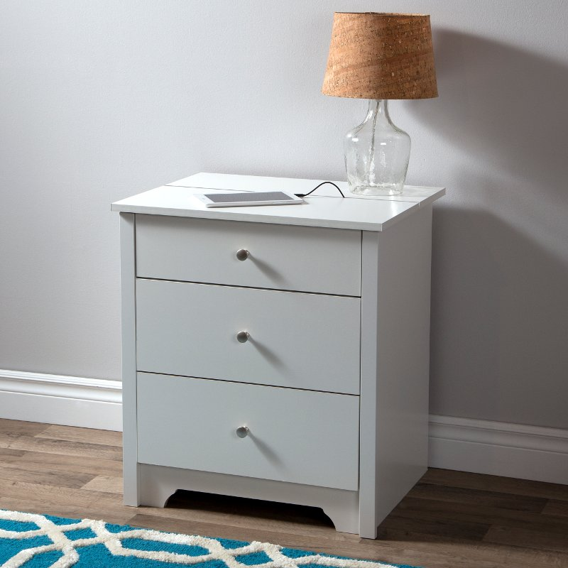 White Nightstand With Charging Station And Drawers Vito Rc