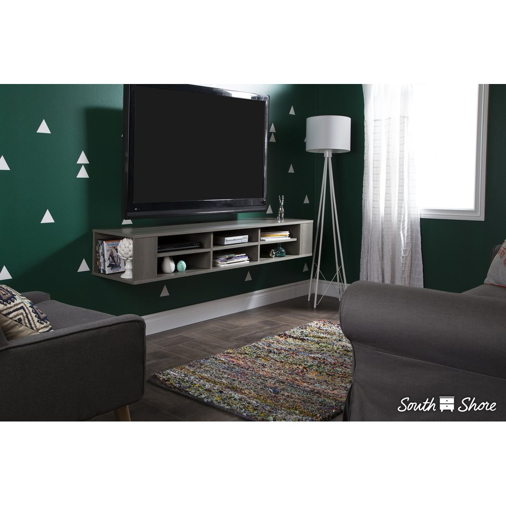 City Life Gray Maple Wall Mounted Media Console