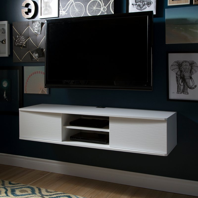 Agora White 56 Wall Mounted Media Console: wall mounted media console