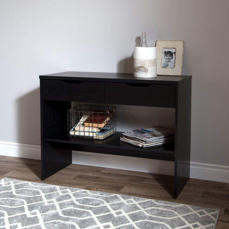 Flexible black oak console table for Sofa table rc willey