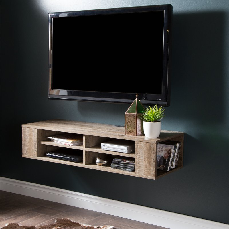 City Life Weathered Oak 48 Wall Mounted Media Console