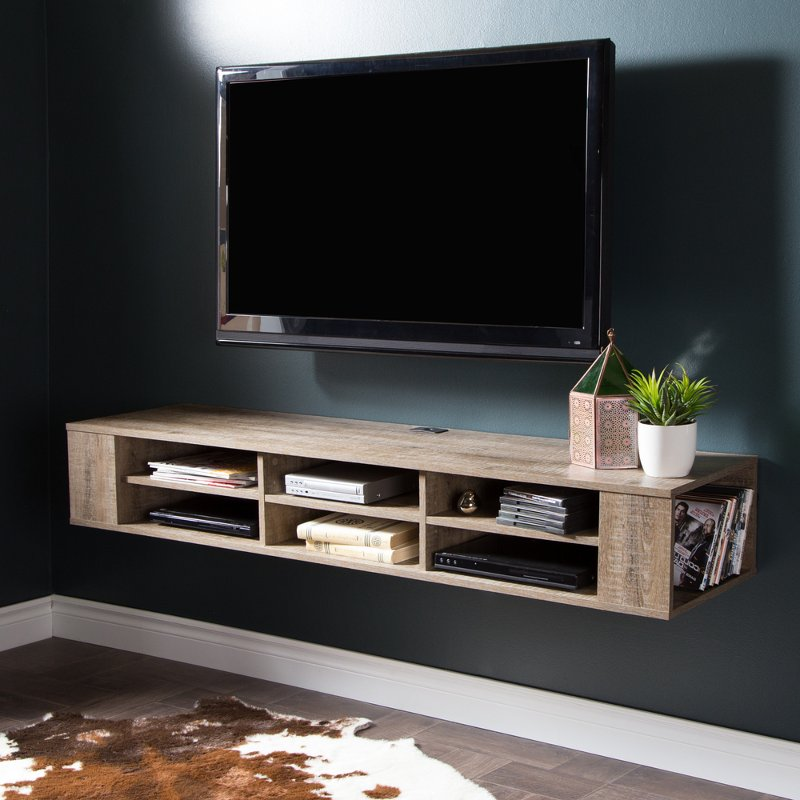 City Life Weathered Oak 66 Wall Mounted Media Console