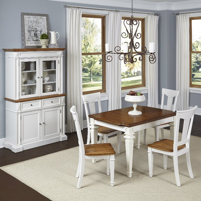 Americana white 5 piece dining set with buffet and hutch for Dining room set with hutch